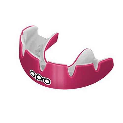Opro Unisex's Power-Fit mondbeschermer voor rugby, hockey, lacrosse, boksen en andere contactpersonen en vechtsporten, 18 maanden tandheelkundige garantie, roze, beugels