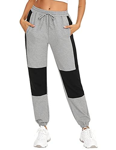 Aseniza Pantalon Chandal Mujer Pantalones Deportivos para Mujer con Bolsilpara, Pantalones Deporte Mujer Largos para Yoga Jogging Gimnasio Ejercicio(Gris Claro+Negro,M)