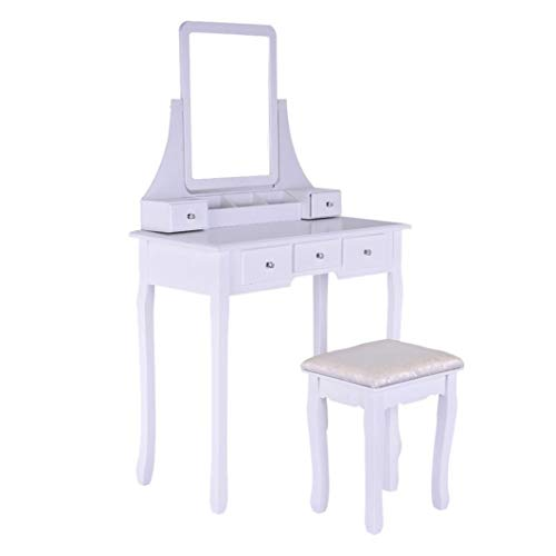 Vanity Table with Removable Flip Top Mirror, Makeup Dressing Table Writing Desk with 5 Drawers and Cushioned Stool Seat, Nightstand Study/Writing Table Bedside Table Desk, Easy Assembly (White)
