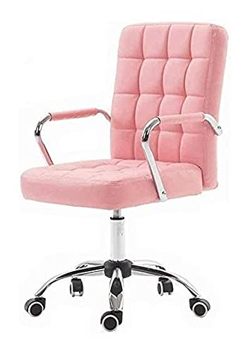 KMDJ Chefstuhl mit Rädern Armlehne Modern Pu. Lederbürostuhl mit Verstellbarer Rückenlehne Home Computer Executive Chair mit Rädern (Color : Pink)