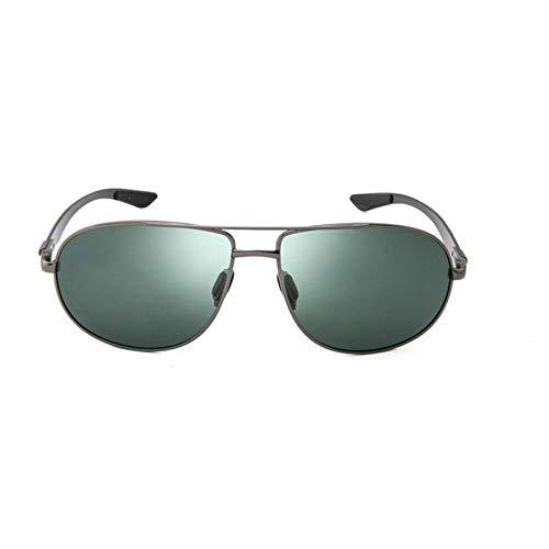 Pistola verde Marco Gafas Calidad Gran Tamaño Primavera Pierna Fibra de Carbono Hombres Gafas de sol Polarizadas Marca Diseño Piloto Masculino Gafas de Sol Conducción Gafas de Sol