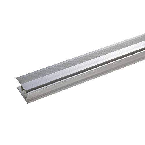acerto 32019 Aluminium Abschlussprofil 2- teilig - 90cm – edelstahlfarbig, 11-15mm, gebohrt * Robust * Leichte Montage | Aluprofil als professionelles Wandanschlussprofil | Wand-Abschlussleiste