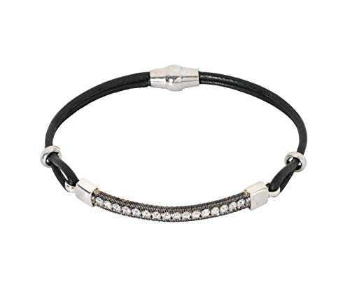 Nini Jewels, pulsera mujer de plata 925 rodiada y rutenio, compuesta con elementos de plata, cadena...