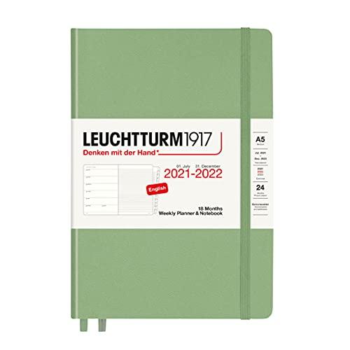 LEUCHTTURM1917 363887 Wochenkalender und Notizbuch 2022 Hardcover Medium (A5), 18 Monate, Salbei, Englisch