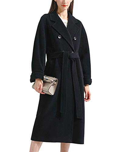 Himosyber Women's Vintage Wool Blend Plaid Lapel Pocketed Button Long Shacket Coat (Black, Medium)