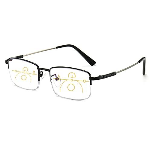 NWB Gafas De Lectura Progresivas Multifocal, Elegantes Lectores De Marco De Metal, Deslumbramiento De Computadora Anti UV, Bloqueo De La Luz Azul, 1.0, 1.5, 2.0, 2.5, 3.0