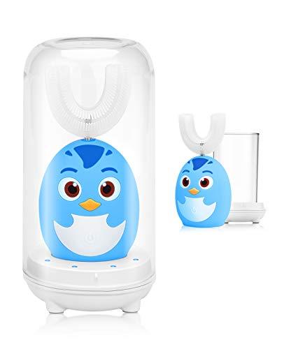 Beedove Cepillo de Dientes Eléctrico para Niños, 3 Modos Sonic Cepillo en Forma de U Niños, con Carga USB y Función IPX7 Prueba Agua, para Niños Pequeños de 2 a 6 Niño (Azul)