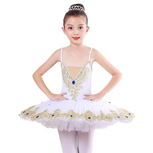 ZYLL Disfraz de Ballet Profesional para nia, Vestido de tut de Ballet de Bailarina, Camisola con Falda, Trajes de tut de Lago de los cisnes para actuacin,Blanco,120CM
