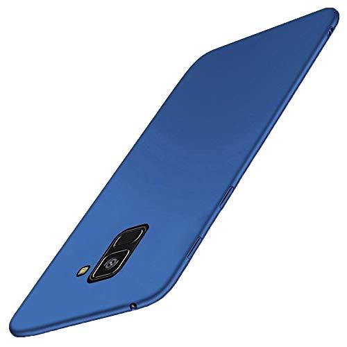 Samsung Galaxy A8 2018 Hülle Harte Handyhülle Hochwertigem Stoßfest Anti-Scratch 360 Grad Matt PC Bumper Cover Schutz Tasche Schale Hardcase für Samsung A8 2018 (Samsung A8 2018, blau)