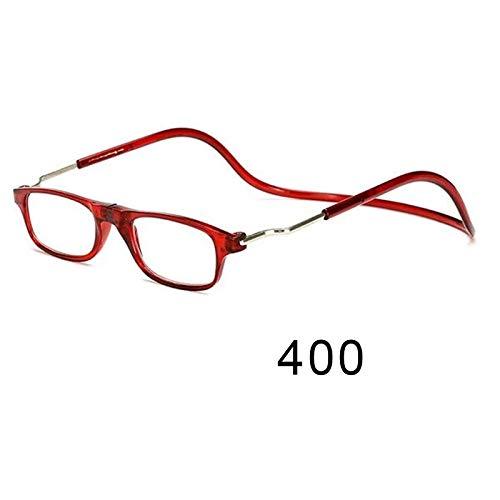 Wjieyou - Gafas de lectura magnéticas para hombre y mujer, color negro, Rojo, 400