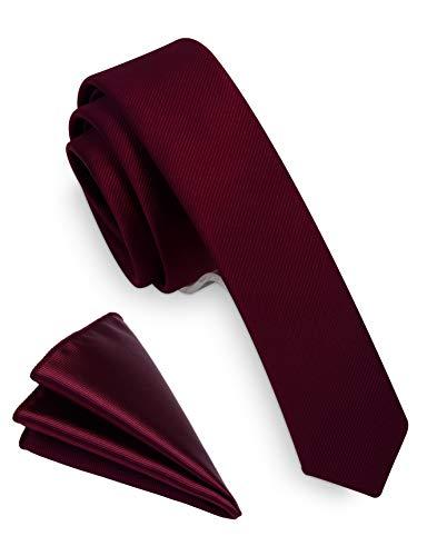 RBOCOTT Silk Burgundy Tie Business Wedding Formal Necktie for Men (Burgundy)