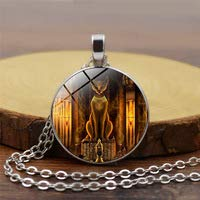 Huang Glass art Antike, ägyptische Katze Göttin Statue Halskette Ägypten Herr Anhänger handgefertigt Glas Halskette Damen Schmuck Amulett Zubehör
