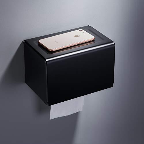 Joeesun Norte europeo creativo caja de papel higiénico impermeable negro libre de perforación mano rollo de papel caja de papel simple