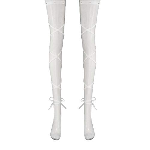 Agoky Damen Sexy Beinbandagen Strumpfband Elastischer Halterlose Wickel Strümpfe mit Strass Kreuzbandage Oberschenkel hoch rutschfeste Erotik Strümpfe für Raves Tanzen Festival Weiß OneSize