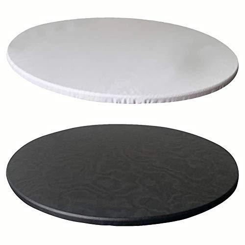 KYJSW 2 Nappe Ronde Imperméable, Ajustée Antidérapante Nappe à Bords élastiques, Convient Aux Tables Rondes d'un Diamètre De 60 Cm à 130 Cm (Blanc+Noir,100cm/39in)