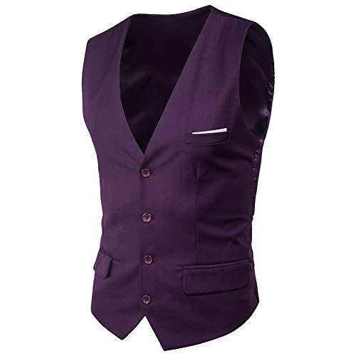 MISSMAO Hommes Gilet Costume sans Manche Slim Fit Casual Col V pour Buisiness et Mariage Violet L