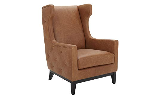 """Amazon Brand – Stone & Beam Rosewood Button-Tufted Leather Wingback Accent Chair, 30""""W, Cognac"""
