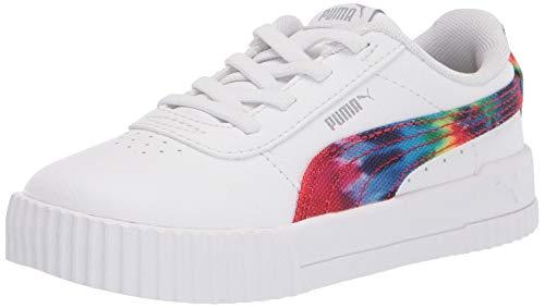 PUMA unisex child Carina Slip on Sneaker, Puma White-metallic Silver, 9 Toddler US