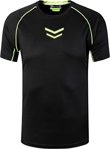jeansian Herren Sport Tee Shirt T-Shirt Tshirt Tops Dry Fit Function Kurzarm Laufen LSL215 Black XL