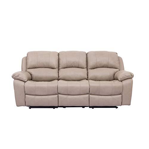 Sofá 3 plazas, 2 de Ellos con función Relax Manual, tapizado en Piel/PVC Modelo Granada tapizado Color Beige.
