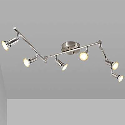 LED 6 Light Track Light Kit, Matte Nickel 6 Way Ceiling Track Lighting, Flexibly Rotatable Light Head, CRI?90, Ceiling Spot Light for Exhibition/Hallway, Included 6X LED GU10 Bulbs(5W, 2700K, 450LM)