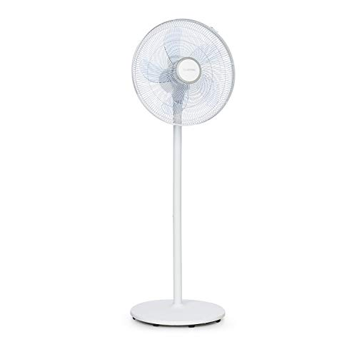 """Klarstein Windflower - Standventilator, 5-Blatt-Rotor (15\""""/38,5 cm), 50 Watt, 3 Windgeschwindigkeiten, höhenverstellbar (2 Stufen), Luftstrom: 3.090 m³/h, zuschaltbare Oszillation, Rundfuß, weiß"""