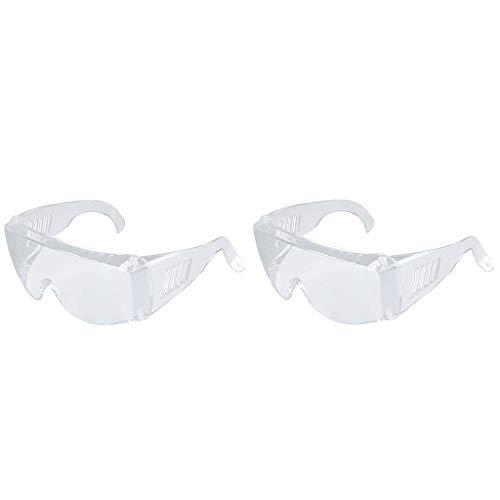 OHQ Gafas Protectoras Transparentes Multifuncionales A Prueba De Polvo Y Viento Pc De Luz Plana Antichoque Y Antisalpicaduras Unisex (2 PC Blanco)