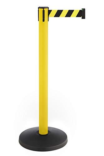 Betriebsausstattung24® Gurtpfosten | Absperrständer | Personenleitsysteme Sicherheit & Ordnung | Ausziehbar bis 3,0 Meter | Stahl | (Pfostenfarbe: gelb | Gurtbandfarbe: gelb/schwarz)