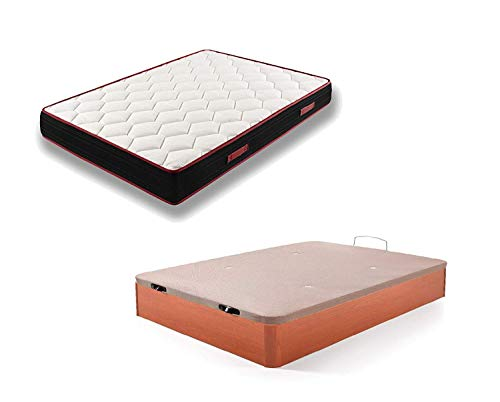 HOGAR24 ES Conjunto Canapé Abatible de Madera Color Cerezo + Colchón Viscoelástico Memory Fresh 3D, 135x190cm