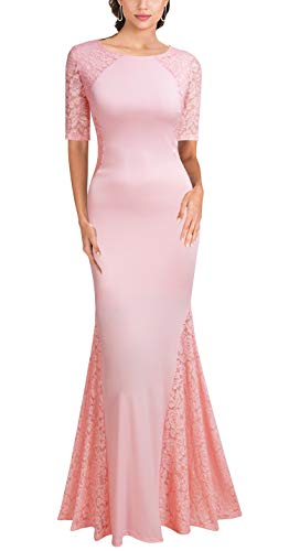 FORTRIC Women Short Sleeves Wedding Party Bridesmaid Long Maxi Dress Pink XXL (Apparel)