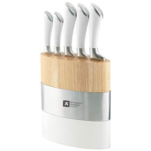 RICHARDSON SHEFFIELD Fusion 5 Piece Kitchen Knife Block Set, White, Stainless Steel, 18 x 10 x 37.6 cm