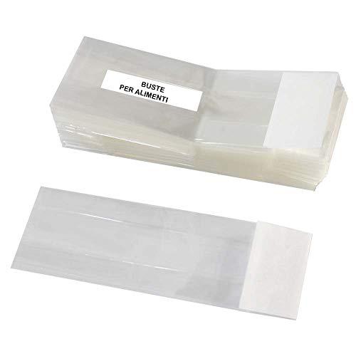 DUE ESSE CHRISTMAS S.r.l. Set 50 Sacchetti Trasparenti in Cellophane Alimentari con Fondo Bianco Misure ASSORTITE (CM 8X24X5)
