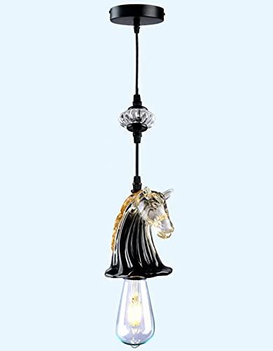 Lámpara colgante de cabeza de caballo,lámpara de cristal para colgar junto a la cama,lámpara colgante de techo para tienda de ropa para habitación infantil,luminarias con bombilla E27 3000K