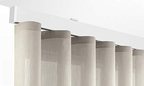X-PROFILES Binario per Tende a Onde - Installazione a Soffitto con Tappi Terminali da 8 mm - Completo per l'Installazione (Argento 220 CM)