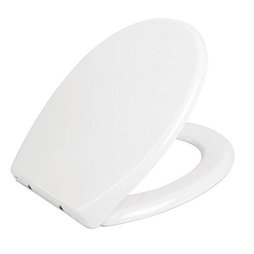 HOMFA Tapa y Asiento WC Universal Cierre Suave y Bajada Lenta de Plástico Duro Tapa de Inodoro con Freno Fácil para Instalación y Desmontaje en Forma de O (Blanco)