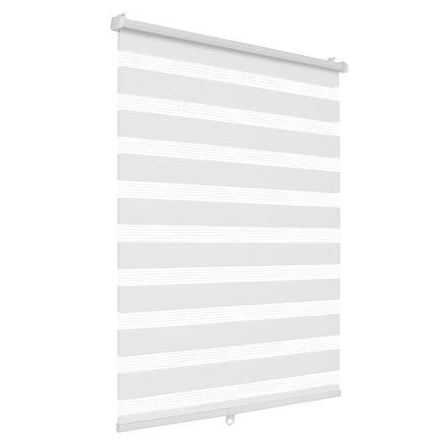 SBARTAR Doppelrollo schnurlos Klemmfix Rollos für Fenster ohne Bohren & zum Bohren, Weiß 85x120cm (B×H) Drücken Und Ziehen Springrollos, Lichtdurchlässig Aber Blickdicht Mittelzugrollo