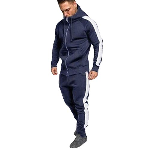 Tenue de Sport Homme 2 Pièces Costume Sweat à Capuche Top Manches Longues Zipper Vestes Pantalons Pas Cher Survetement Homme Ensemble