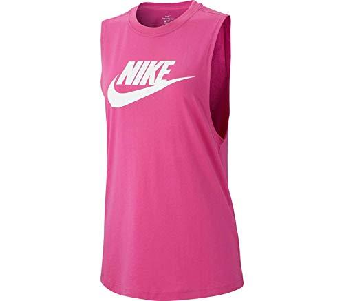 Nike W NSW Tank Essntl Mscl Futura T-Shirt pour Femme XS Rose/Blanc (Active Fuchsia/White)