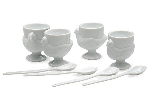 RSVP International Egg Set Kitchen Accessories, Cup & Spoon, Porcelain