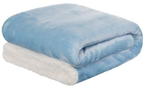 Brandsseller Baby Flanell-Kuscheldecke mit Sherpa-Rückseite 2-farbig 100x150 cm - Farbe: Hellblau/Weiß