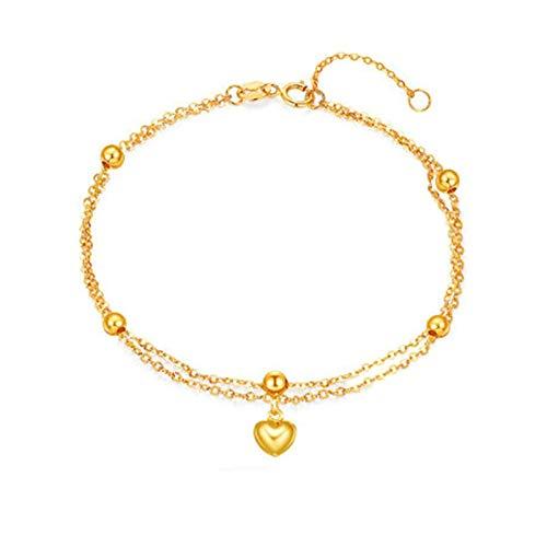 Beydodo Pulseras Oro Mujer,Pulsera Mujer Oro Amarillo 18 Kilates Cadena Rolo Doble con Corazón y Cuenta Longitud 16cm + 2cm