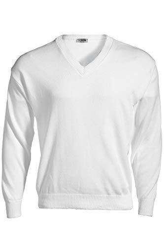 Edwards Garment Stylish V-Neck Jersey Stitch Sweater, White, Large
