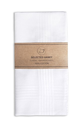Price comparison product image Selected Hanky 100% Cotton Men's Handkerchief White with Stich 12 Pieces