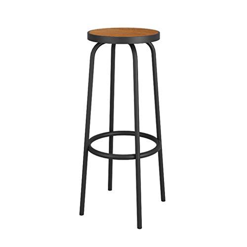 WG stoel stoel stoel moderne minimalistische ijzer lounge stoel retro bar koffie winkel massief hout stoel oppervlak met voetsteun barkruk hoge stoel hoge stoel 30 * 70Cm -Sponge + kunstleer/massief hout Cha