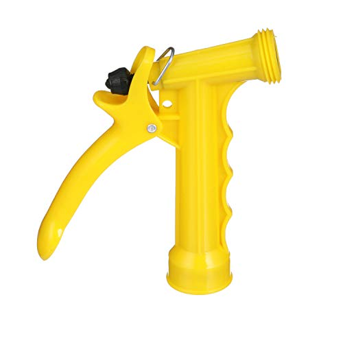"""Seachoice 79601 Plastic Hose Nozzle with Locking Spray Lever and Stainless Steel Return Spring Yellow 5-1/2"""""""