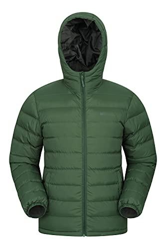 Mountain Warehouse Seasons Herrenjacke - Gefüttert, leicht, wasserbeständige Regenjacke, Mikrofaserfüllung - Ideal für den Winter Dunkelgrün XS