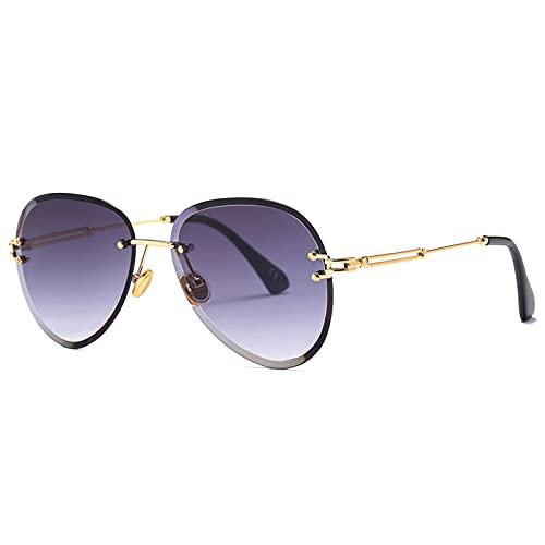 LUBENWEI Rebanadas Grandes Gafas de Sol Redondas para Mujeres, Gafas de Sol Clip, Gafas de Sol de Moda (Color : Deep Purple)
