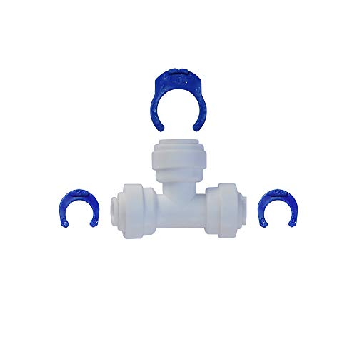 """1/4"""" OD x 3/8"""" OD x 1/4"""" OD tubing T spliter (reducing tee) with QC. Allow Using 1/4"""" RO tubing on 3/8"""" OD RO line. Uses in Water Filters or Reverse Osmosis Systems"""