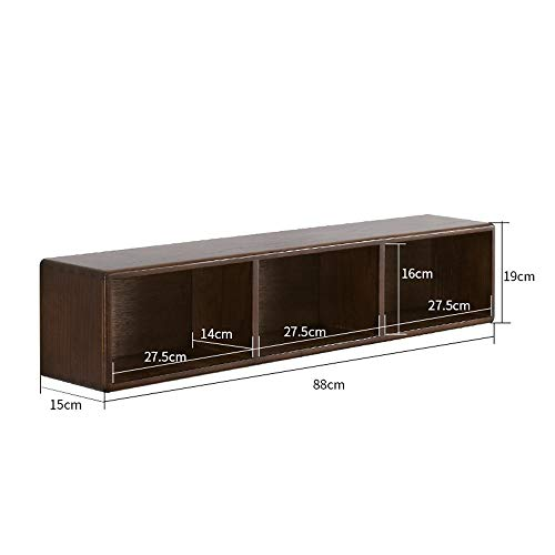Rek van massief hout, eenvoudige structuur, voor het ophangen aan de muur voor slaapkamer en slaapkamer. 15x88x19cm Walnut Color