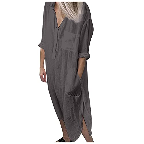 URIBAKY - Vestido con cuello en V para mujer, color liso, con botones de bolsillo con abertura, vestido de noche, vestido elegante, talla grande, vestido sexy gris XL